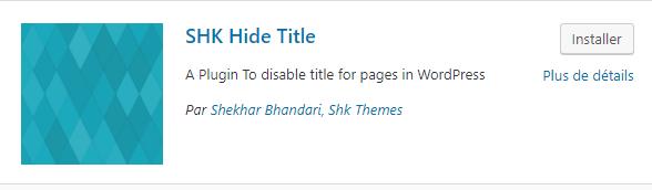 Supprimer un titre WordPress
