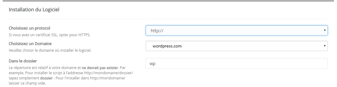 installation wordpress